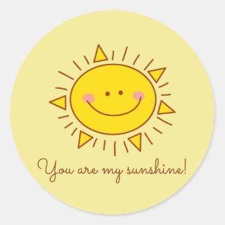 Adesivo Redondo Você é meu dia ensolarado do smiley bonito feliz