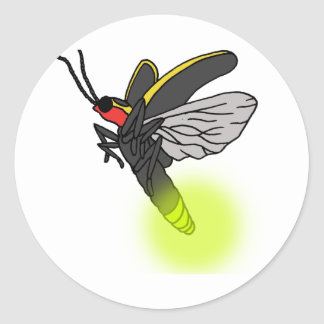 Adesivo Redondo vôo 2 do inseto de relâmpago iluminado