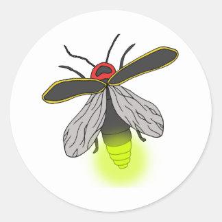 Adesivo Redondo vôo do inseto de relâmpago iluminado