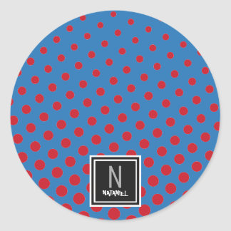 Adesivo Redondo Walpaper do fundo vermelho e azul