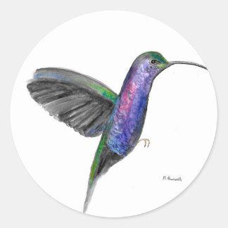 Adesivo Redondo Watercolour roxo do colibri
