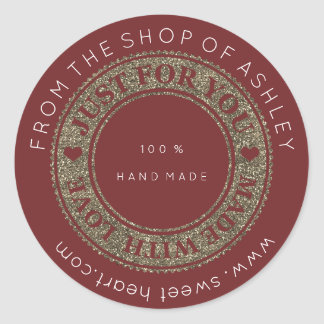 Adesivo Redondo Web Handmade do nome do logotipo com ouro do