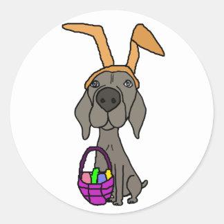 Adesivo Redondo Weimaraner engraçado bonito com orelhas do coelho