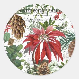 Adesivo Redondo Wintergarden moderno do vintage floral