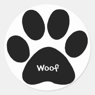 Adesivo Redondo woof do impressão da pata