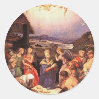 Adesivo Redondo Worship_of_the_shepherds_by_bronzino
