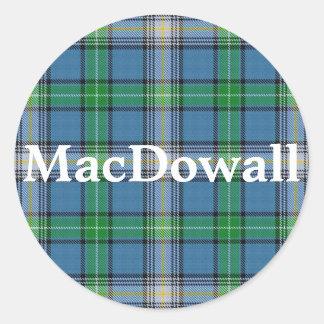 Adesivo Redondo Xadrez de Tartan escocesa de MacDowall do clã