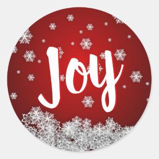 Adesivo Redondo Xmas VERMELHO do Natal do feriado da ALEGRIA dos