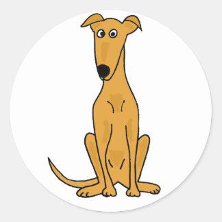 Adesivo Redondo XX- desenhos animados engraçados do cão do galgo