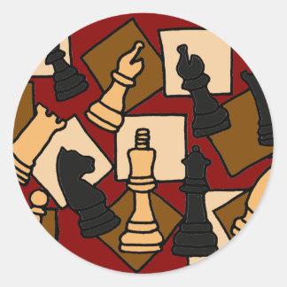 Adesivo Redondo XX- o jogo de xadrez impressionante remenda a arte