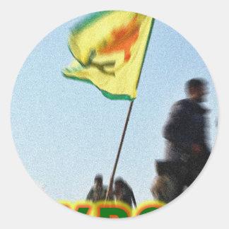 Adesivo Redondo YPG - Lutadores curdos da liberdade de Kobani v2