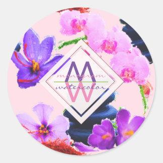 Adesivo Redondo Zen das flores do açafrão e da orquídea do