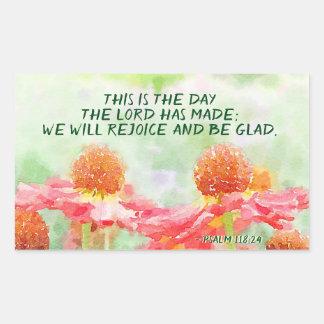 Adesivo Retangular 118:24 do salmo este é o dia onde o senhor fez