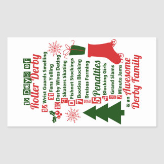 Adesivo Retangular 12 dias do Natal de Derby do rolo, patinagem de