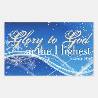 """Adesivo Retangular 2:14 """"glória de Luke ao deus"""" no Natal o mais alto"""