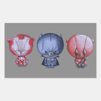 Adesivo Retangular 3 heróis pequenos