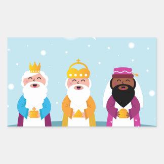 Adesivo Retangular 3 reis pintados mão