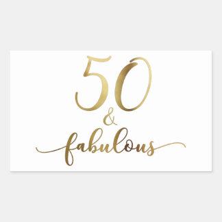 "Adesivo Retangular ""50 &"" ouro fabuloso do falso, elogio do"