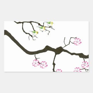 Adesivo Retangular 7 flores de sakura com 7 pássaros, fernandes tony