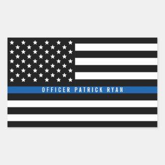 Adesivo Retangular A bandeira americana fina de Blue Line da polícia