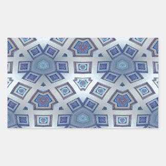 Adesivo Retangular A engrenagem geométrica artística azul gosta do