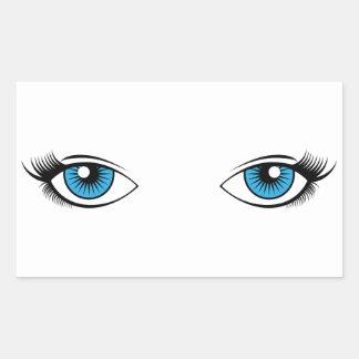 Adesivo Retangular A fêmea azul Eyes o gráfico dos desenhos animados