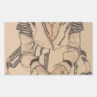 Adesivo Retangular A irmã do artista de Egon Schiele- na lei