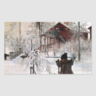 Adesivo Retangular A jarda e o Lavagem-House, Carl Larsson