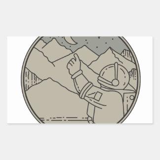 Adesivo Retangular A lua do astronauta Stars a mono linha do círculo