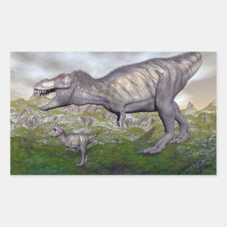 Adesivo Retangular A mãe do dinossauro do rex do tiranossauro e o