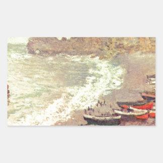 Adesivo Retangular A praia em Etretat - Claude Monet