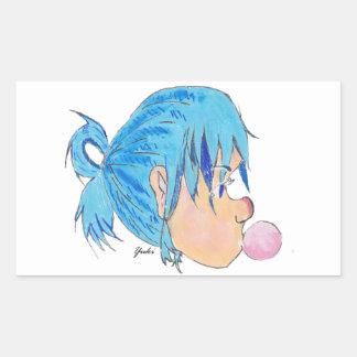 Adesivo Retangular Adolescente fundindo uma bolha com goma