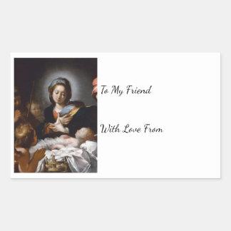 Adesivo Retangular Adoração dos pastores do século XVII