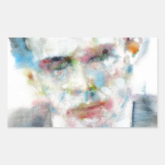 Adesivo Retangular ALDOUS HUXLEY - retrato .4 da aguarela