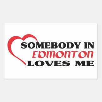 Adesivo Retangular Alguém em Edmonton ama-me