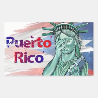 Adesivo Retangular Alivio de Puerto Rico. Vergonha em você trunfo!
