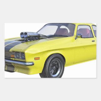 Adesivo Retangular Amarelo do carro de 1970 músculos com listra preta