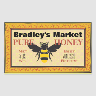 Adesivo Retangular Amarelo e preto Bumble a abelha personalizada