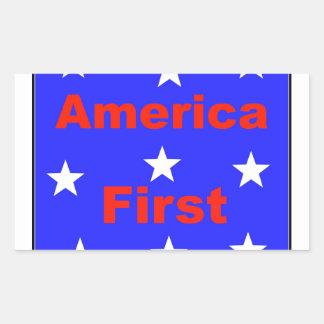 """Adesivo Retangular """"América vermelha, branca, e azul primeiramente"""""""