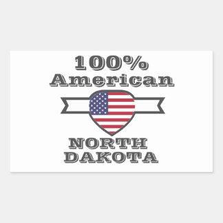 Adesivo Retangular Americano de 100%, North Dakota
