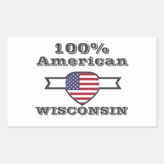 Adesivo Retangular Americano de 100%, Wisconsin