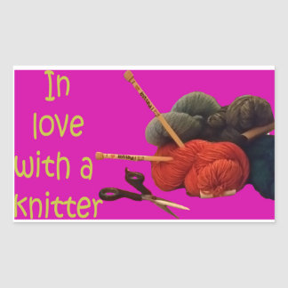 Adesivo Retangular amor dos knitters