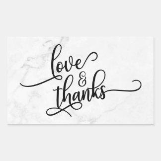 Adesivo Retangular Amor & roteiro dos obrigados sobre o mármore