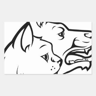 Adesivo Retangular Animais de estimação gato e ícone das caras do cão