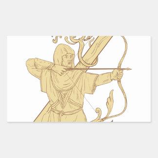 Adesivo Retangular Arqueiro medieval que aponta o desenhar da letra Z