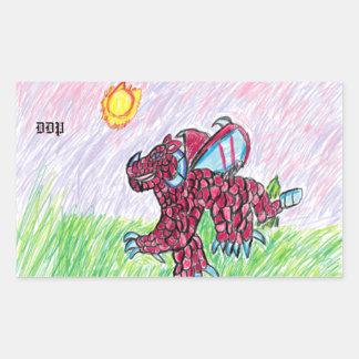 Adesivo Retangular arte cor-de-rosa do dragão