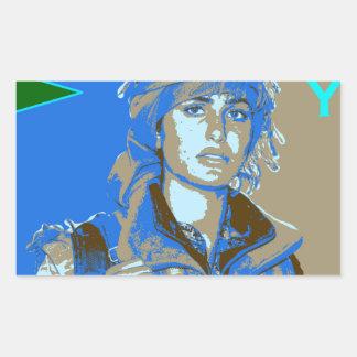 Adesivo Retangular Arte curdo 3 do lutador de YPJ
