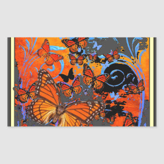 Adesivo Retangular Arte do clima de tempestade das borboletas de