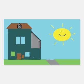 Adesivo Retangular Arte do miúdo - céu & luz do sol da casa