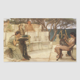 Adesivo Retangular Arte, Sappho e Alcaeus do vintage por Alma Tadema